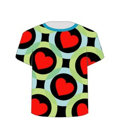 T Shirt Template- Colorful hearts vector image