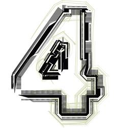 Technological font number 4 vector