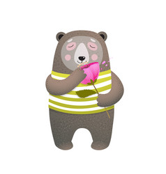 teddy brown bear smelling a poppy flower vector image
