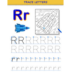 Tracing letter r for study alphabet printable vector