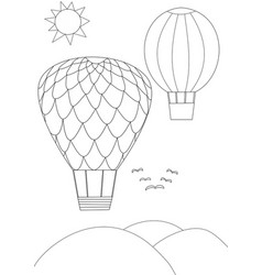 Two balloons flying the sky - black and white vector