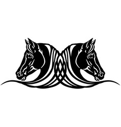 Two heads black horses tattoo vector