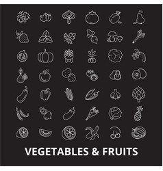 vegetables editable line icons set on black vector image