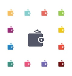 wallet flat icons set vector image