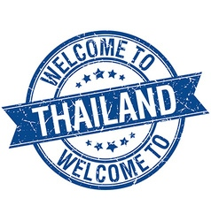 welcome to Thailand blue round ribbon stamp vector image