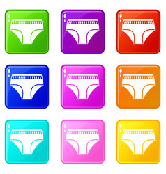 woman cotton panties icons 9 set vector image