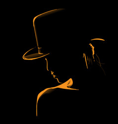 woman with hat silhouette in backlight vector image