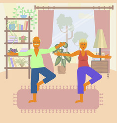 Yoga for seniors vector
