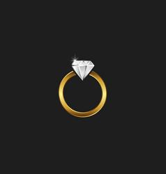 a golden ring with a diamond logo a sparkling vector image