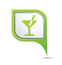 cocktail symbol on green map pointer vector image vector image