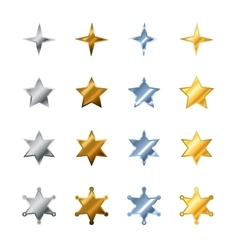 Different stars made from steel bronze silver vector image vector image