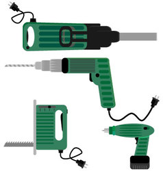 Drill screwdriver and hammer jigsaw vector image vector image