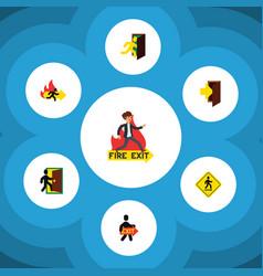 Flat icon door set of emergency entry direction vector
