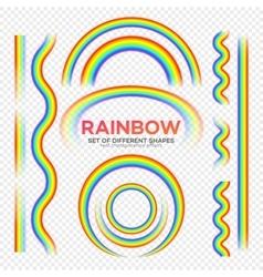 Rainbows different shape set Real Rainbow vector image