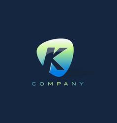 k letter logo oval shape modern design vector image