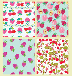 Set of pattern with peach cherries and vector