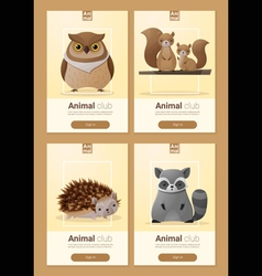 Set of Wild animal templates for web design 3 vector image