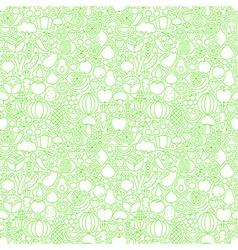 Thin Line Fresh Fruits Vegetables White Seamless vector image