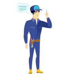 young asian mechanic with speech bubble vector image