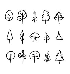 big set of hand-drawn modern icons of trees and vector image