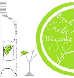 glass with bottle and lime vector image vector image