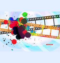Grunge colors ink splatter on film vector