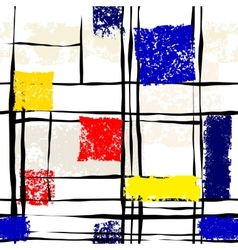 Grunge imitation of mondrian painting vector