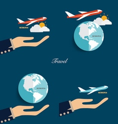 Hands holding modern globe and plane vector