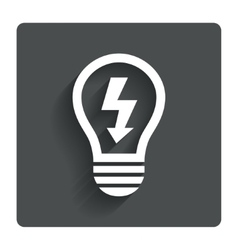 Light lamp sign icon Bulb with lightning symbol vector image