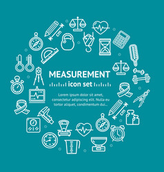 measurement signs round design template line icon vector image