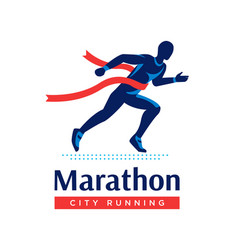 running marathon logo or label runner with red vector image