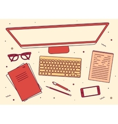 Set linear business office top view screen vector image