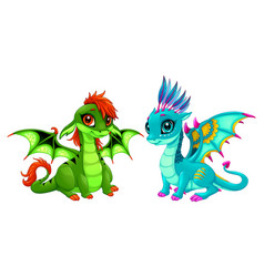 baby dragons with cute eyes vector image
