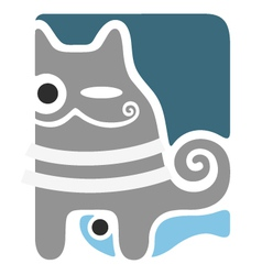 cat with fish vector image vector image