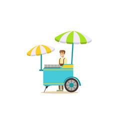 flat street food cart with umbrella vector image vector image