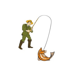Fly Fisherman Catching Trout Fish Cartoon vector image