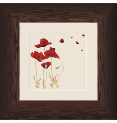 wood frame poppies vector image