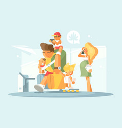 young family at airport vector image
