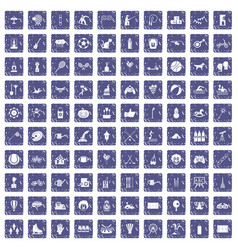 100 kids activity icons set grunge sapphire vector image