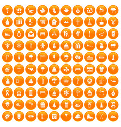 100 winter holidays icons set orange vector