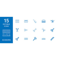 15 scissors icons vector