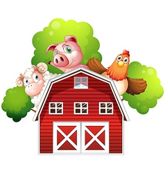 A sheep a pig and a chicken hiding at the back of vector image