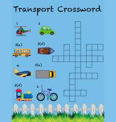 A transport crossword game template vector