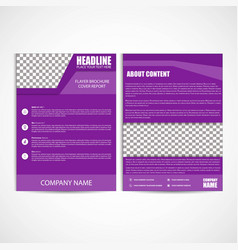 Abstract purple color flyer template size a4 vector