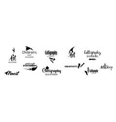 Art classes lettering logo design set vector