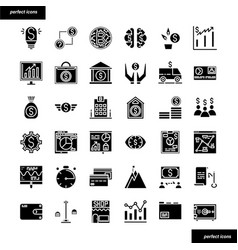 banking and financial solid icons set vector image