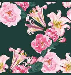 beautiful pink lily flowers and roses pattern vector image