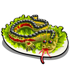 beautifully decorated salad in the form of a vector image