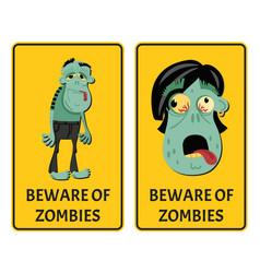 beware of zombies label set vector image
