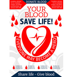 Blood donation poster for health charity design vector